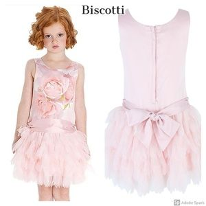 Biscotti Tutu Dress Girl Coral Floral Tulle 12 New